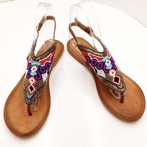 {Naughty Monkey} Beaded Leather Push Toe Sandals